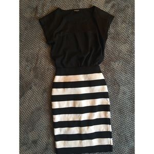 EXPRESS Black&White Striped Pencil Skirt